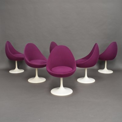 Set of 6 Joe Colombo 'Egg' dining chairs for Lusch Erzeugnis, circa 1970