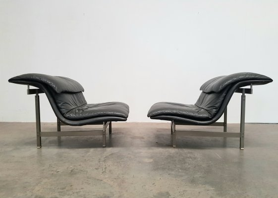 Dark grey leather Wave lounge chairs by Giovanni Offredi for Saporiti Italy, 1970s