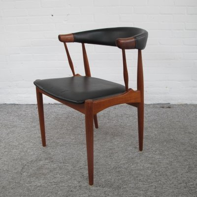 Danish teak cow horn chair by Johannes Andersen, 1960s