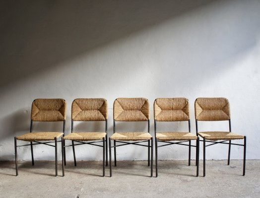 Set of 5 Midcentury Chairs with Iron Frame & Rush seat, 1950s