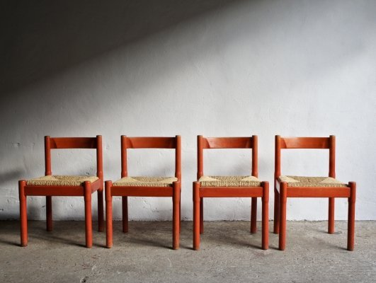 Red Carimate Chairs by Vico Magistretti