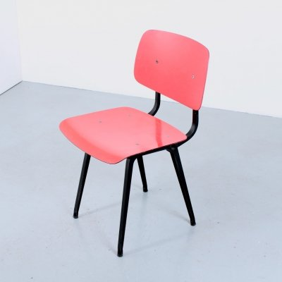 Black & coral red Revolt chair by Friso Kramer, 1950s