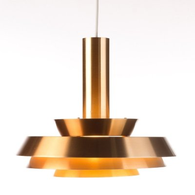 Elegant Danish copper colored pendant by Lyskaer Bellysning, 1960's