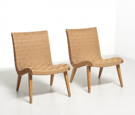 Early pair of '654' chairs by Jens Risom, 1940s