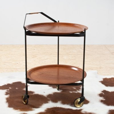 Teak & metal round serving cart or trolley by Åry Fanérprodukter Nybro, 1960s