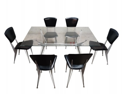 Dining table & chairs by Fasem Italy, 1990s