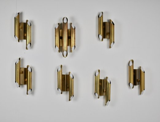 Set of 7 Brass Wall Lamps, 1960s