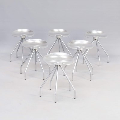 Set of 6 aluminium 'Jamaica' stools by Pepe Cortes for Amat, 1990s
