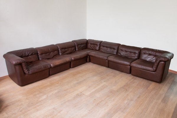 WK Möbel Modular Brown Leather Sofa by Ernst Martin Dettinger