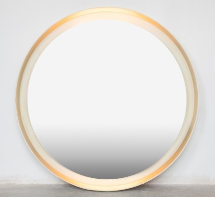Large vintage solid white wood frame circle mirror with inset tube lighting, 1960s