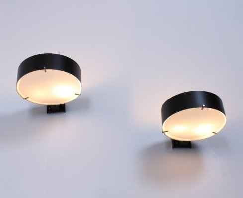 Black & opaline glass set of wall sconces by Bruno Gatta for Stilnovo, 1950s