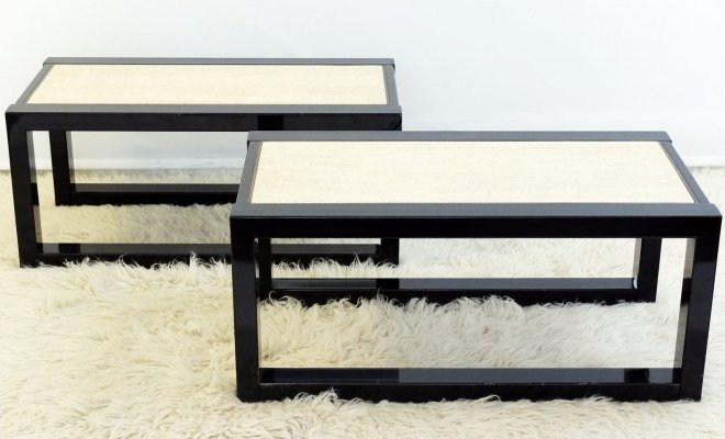 Pair of sturdy steel, travertine & bronze sofa tables, 1970s
