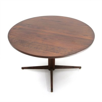 Midcentury wood Italian round coffee table, 1960s