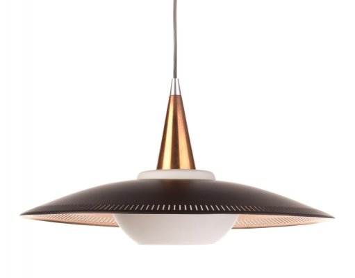 Vintage Lyfa pendant lamp in black, copper & opaline glass, 60's