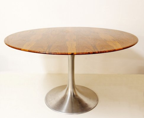 Brushed Chrome And Rosewood Tulip Dining Table