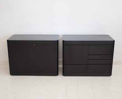 Pair of Black Credenzas with Granite Top by Angelo Mangiarotti