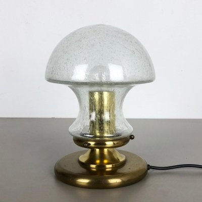 Modernist Glass & Brass Mushroom Table Light by Doria Lights, Germany 1970s