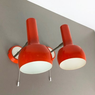Red Orange Wall Ceiling Spot Light by Swisslamps International, Switzerland 1970s