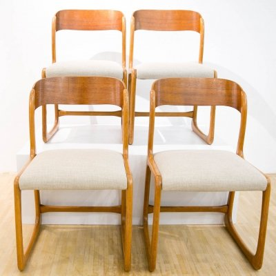 Set of 4 'Traineau' Sledge Chairs by Emile & Walter Baumann, 1960s