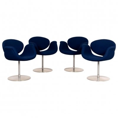 Pierre Paulin Little Tulip Dining Chair in Blue Fabric for Artifort, Netherlands