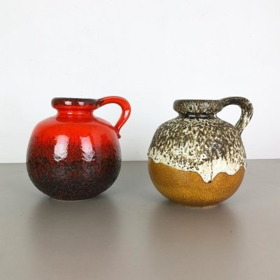 Set of Two Pottery Fat Lava Vases model '484-21' Made by Scheurich Germany, 1970s