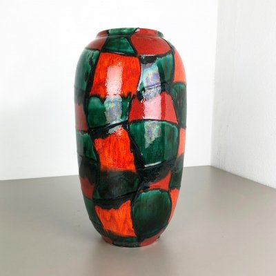 Large Pottery Fat Lava Multi-Color 546-41 Floor Vase Made by Scheurich, 1970s