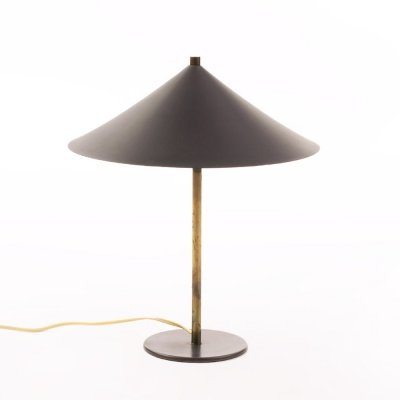 Vintage Danish dark grey table lamp with brass, 1950's
