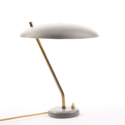 Vintage Danish grey desk lamp with brass, 1950's