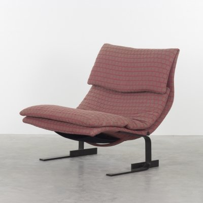 Red/grey fabric 'Onda' lounge chair by Giovanni Offredi for Saporiti, 1970s