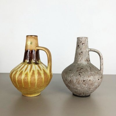 Set of 2 Ceramic Pottery Vases by Heinz Siery for Carstens Tönnieshof, Germany 1970s