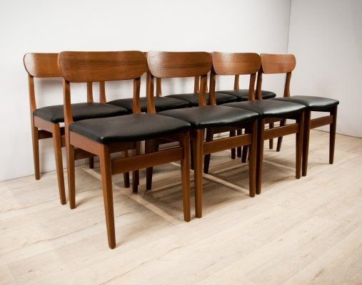 Set of 8 Teak & Leather Chairs by Nils Jonsson for Hugo Troeds, 1960s