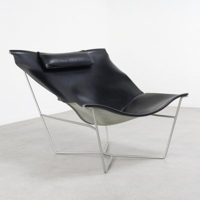 'Semana' leather sling lounge chair by David Weeks for Habitat, UK 1990s