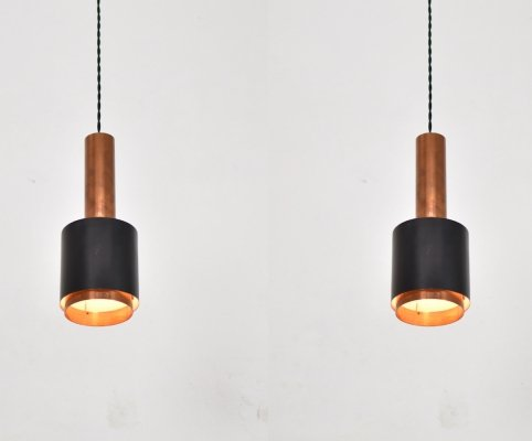 Rare pair of Modernist ceiling pendants by Falkenberg Belysning, Sweden 1950's