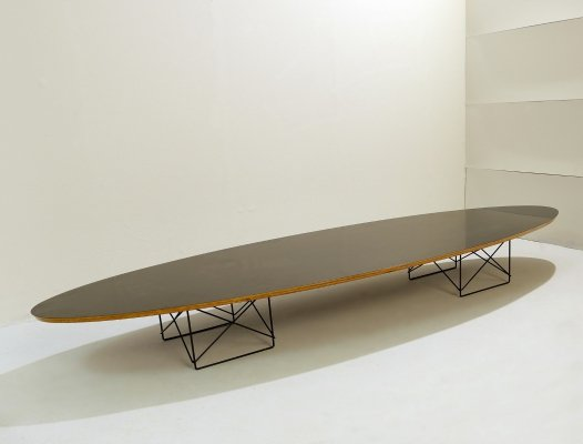 Elliptical Coffee Table With Steel Structure, 1970s