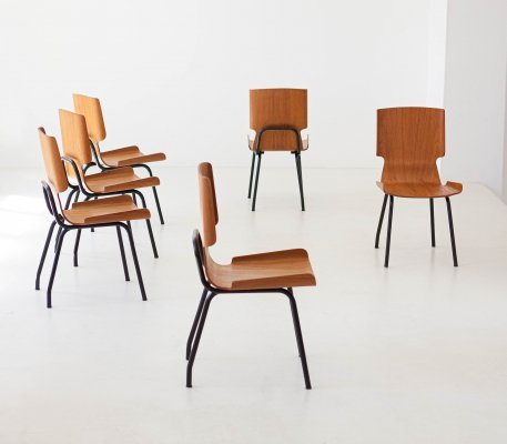 Set of Six Italian Curved Teak Chairs