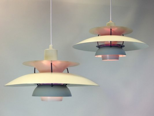 Pair of white PH5 lamps by Poul Henningsen for Louis Poulsen, 1960s