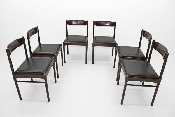 Set of six chairs in afromosia teak