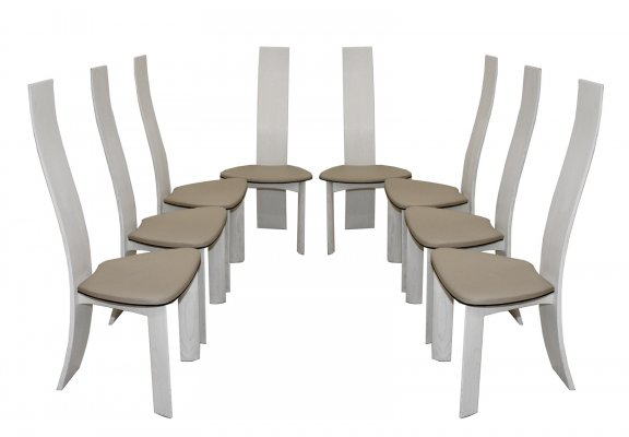Set of 8 white lacquered oak 'Iris' chairs by Van Den Berghe Pauvers