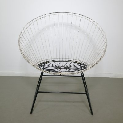 Rare wire chair by Cees Braakman & A. Dekker for Pastoe/ Tomado, 1950s
