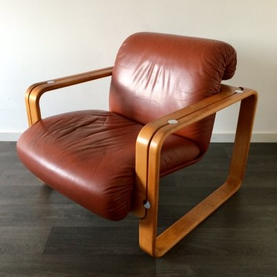Vintage 1970's Design Stoll Giroflex Leather & wood Arm Chair