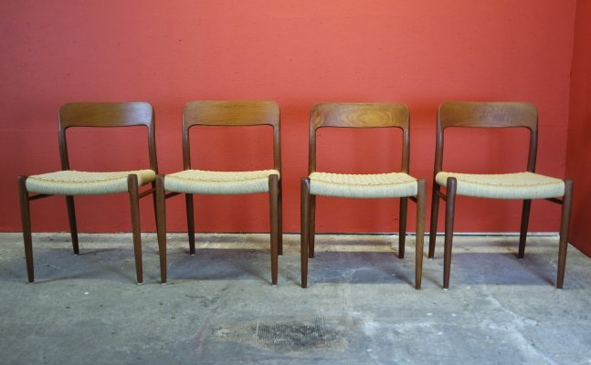 Set of 4 No. 75 dining chairs by Niels Otto Møller for JL Møllers Møbelfabrik, 1950s