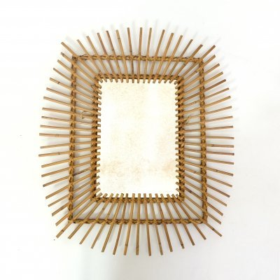 Sun shaped rectangular rattan mirror, 1960s