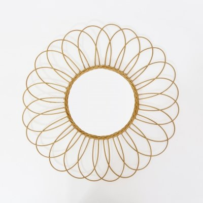 Wicker mirror from the 1960s-1970s