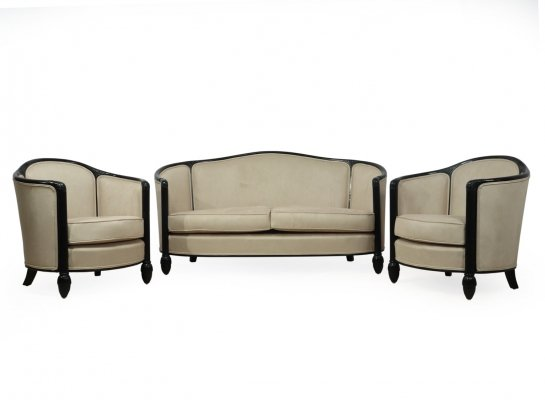 French Art Deco Chairs & Sofa by Paul Follot, c1920
