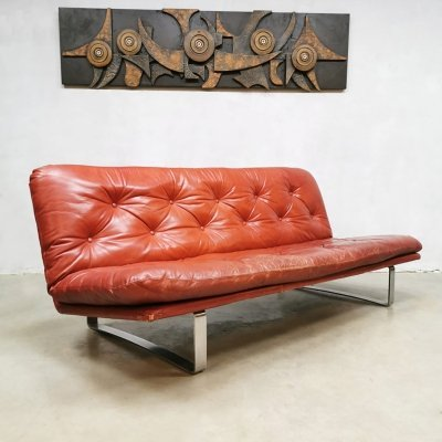 Vintage Dutch design leather sofa by Kho Liang Ie for Artifort