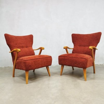 Set of 2 Midcentury modern wingback chairs by A. A. Patijn