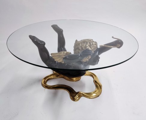 Bronze cupid coffee table, 1970s
