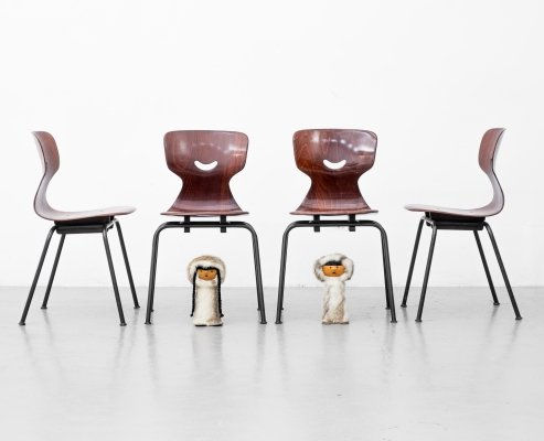 Set of 4 dining chairs by Adam Stegner for Pagholz Flötotto, 1960s