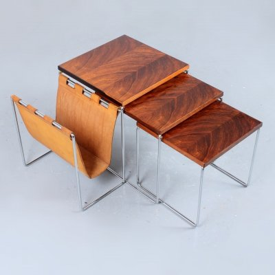 Rosewood & leather table set with magazine rack by Brabantia, 1960s