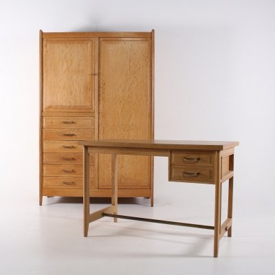 French ceruse desk & cabinet, 1950s